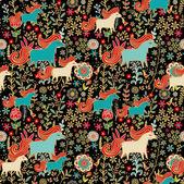 Seamless pattern mit pferden — Stockvektor