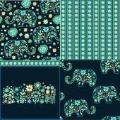 Set of patterns with elephants — Vector de stock