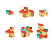 Set of decorative houses — Stock Vector