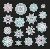 Set of snowflakes - stars — Stock Vector