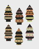 Set of Christmas trees — Stock Vector