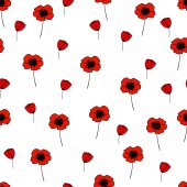 Seamless vector pattern with poppy — Stock Vector