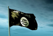 Islamic State flag waving on the wind — Stock Photo