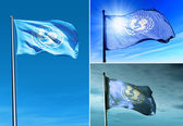 UNICEF flag waving on the wind — Zdjęcie stockowe