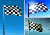 Checkered flag waving in the evening — Stock Photo