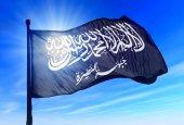 Al-Nusra Front flag waving on the wind — Stock Photo