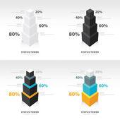 Estado de la plantilla de infografía torre conjunto — Vector de stock
