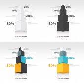Infografía plantilla estado torre fuente vista conjunto — Vector de stock