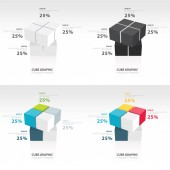 Swivel cube infographic template set — Stock Vector
