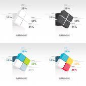 Conjunto de plantillas de infografía cubo gire — Vector de stock