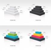 Pirámide cubo infografía lateral vista conjunto — Vector de stock
