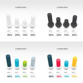 Cylinder infographic 3d graph template set — Stock Vector