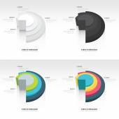 Negocio infografías del círculo de origami estilo conjunto — Vector de stock
