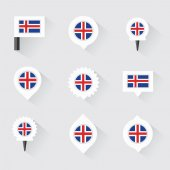 Iceland flag and pins for infographic, and map design — Stock Vector