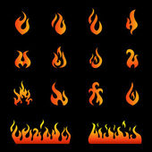Fire flames, set icons — Stock Vector