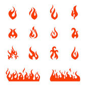 Fire flames, set icons, vector illustration — Stock Vector