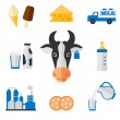 Dairy icons set - flat style. — Stock Vector #65114813
