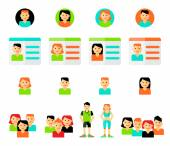 Set of avatars. Vector illustration, flat icons. — Stock Vector