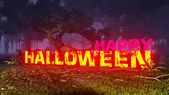 Glowing Happy Halloween text in the dark forest 3 — Foto Stock