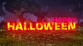 Glowing Happy Halloween text in the dark forest 2 — Foto Stock