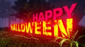 Glowing Happy Halloween text in the dark forest 1 — Foto Stock