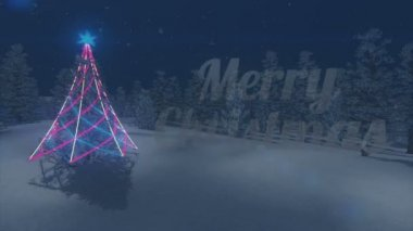 Flashing Merry Christmas text. Illuminated Christmas tree. Loop — Stock Video