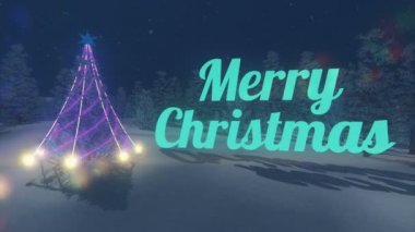 Turquoise Merry Christmas text. Illuminated Christmas tree. Loop — Stock Video