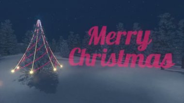 Iridescent Merry Christmas text. Illuminated Christmas tree. Loop — Αρχείο Βίντεο