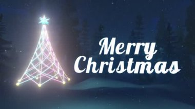 Merry Christmas text. Illuminated Christmas tree. — Stock Video