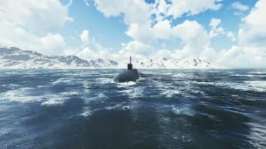 Russian nuclear-powered submarine at the northern waters — Stock Video