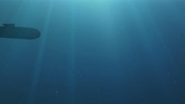 Silhouette of the submarine floats in a deep water — Video Stock