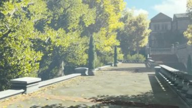 Walk in the courtyard of the ancient manor — Stockvideo