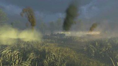 Russian Tank T 34 crosses the battlefield — Stock Video