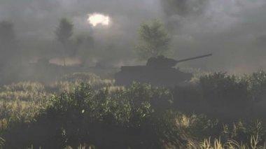 Russian tanks T 34 crossed the battlefield — Stock Video