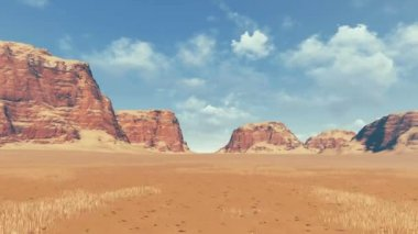 Red rocks among desert land panoramic view — Stock Video