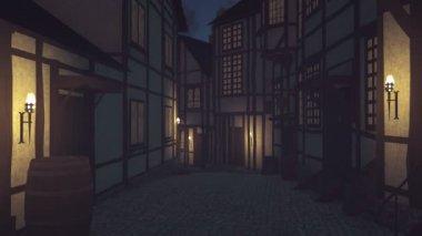 Narrow medieval street at dark night — Stok video