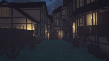 Old medieval town at dark night — Stock Video