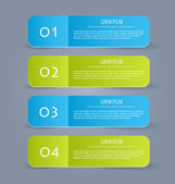 Business infographics template for presentation, education, web design, banners, brochures, flyers. Blue and green tabs. — Cтоковый вектор