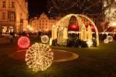 Humor de Navidad en la noche de ciudad vieja, Praga, República Checa — Foto de Stock