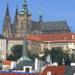 View on the autumn Prague City above River Vltava, Czech Republic — Stock Photo #63795035