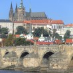 View on the autumn Prague City above River Vltava, Czech Republic — Stock Photo #63795357