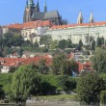 View on the autumn Prague City above River Vltava, Czech Republic — Stock Photo #63795505