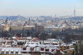 First Snow in Prague City, Czech Republic — Stock Photo