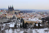 First Snow in Prague City with gothic Castle, Czech Republic — Stock Photo