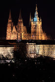 Night winter Prague City with the gothic Castle, Czech Republic — Stockfoto
