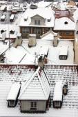The View on Romantic snowy Prague City, Czech Republic — Stock Photo
