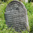 Tombstone on the old village Jewish Cemetery, Czech Republic — Stock Photo #72578407