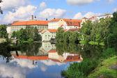 Colorful medieval Town Pisek above the river Otava, Czech Republic — Stock Photo