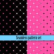 Black and white seamless monster wallpaper texture with pink, blue. Fashion, bright, dots,  lines, checkered cell. Girls Paris Monster party, gothic party, halloween. Hot swatches global colors.Vector — Vector de stock  #57162771