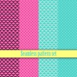 Black and white seamless monster wallpaper texture with pink, blue. Fashion, bright, dots,  lines, checkered cell. Girls Paris Monster party, gothic party, halloween. Hot swatches global colors.Vector — Vector de stock  #57162855